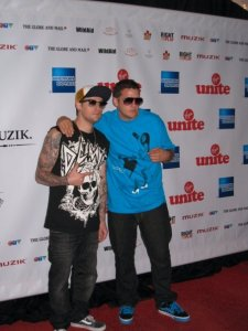 Joel Madden, left on the red carpet before heading to the DJ booth