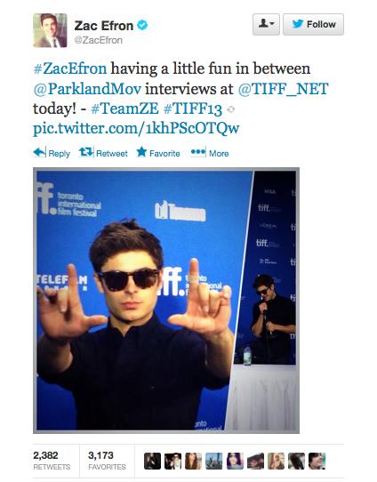 Zac Efron Tweet